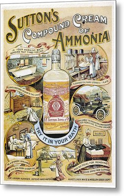 Metal Print featuring the photograph Sutton's Compound Cream Of Ammonia Vintage Ad by Gianfranco Weiss