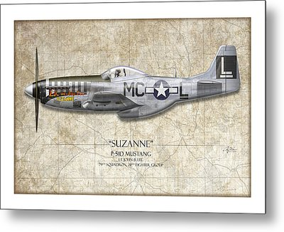 Suzanne P-51d Mustang - Map Background Metal Print by Craig Tinder