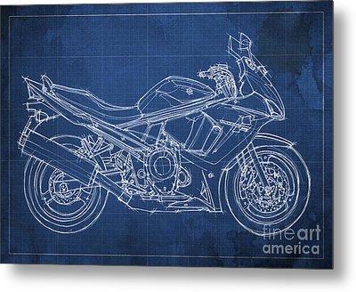 Suzuki Gsx 650f 2011 Blueprint Metal Print by Pablo Franchi