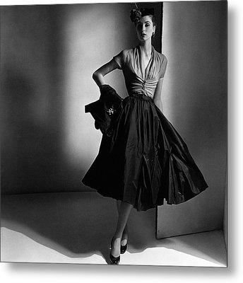 Suzy Parker Wearing A Dior Dress And Jacket Metal Print