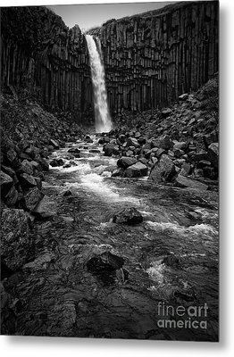 Svartifoss Waterfall In Black And White Metal Print by IPics Photography