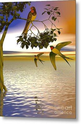 Metal Print featuring the digital art Swallows At Sunset by Sandra Bauser Digital Art