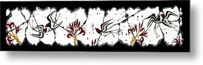 Swallows With Lilies No. 5 Metal Print by Steve Bogdanoff