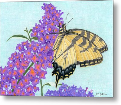 Swallowtail Butterfly And Butterfly Bush Metal Print by Sarah Batalka