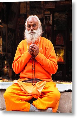 Swami Sundaranand At Tapovan Kutir 4 Metal Print by Agnieszka Ledwon