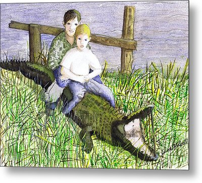 Metal Print featuring the painting Swamp Boys by June Holwell