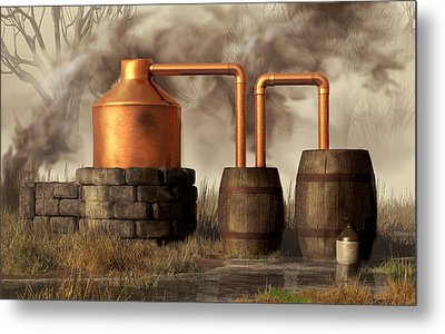 Swamp Moonshine Still Metal Print
