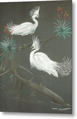 Metal Print featuring the pastel Swampbirds by Terry Frederick