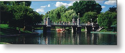 Swan Boat In The Pond At Boston Public Metal Print by Panoramic Images