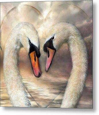 Swan Love Metal Print by Carol Cavalaris