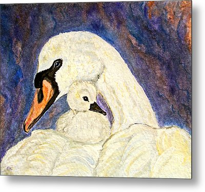 Metal Print featuring the painting Mother's Love Swan And Baby Painting by Ella Kaye Dickey