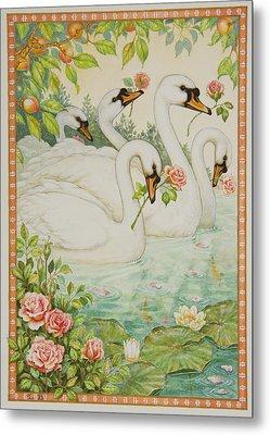Swan Romance Metal Print by Lynn Bywaters