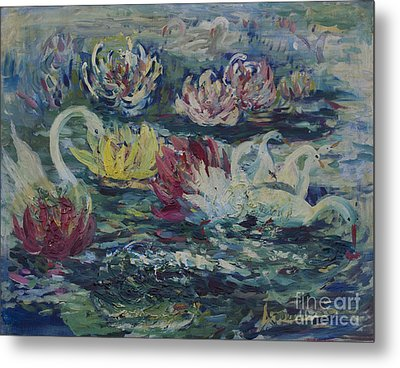 Metal Print featuring the painting Swans In Lilies  by Avonelle Kelsey