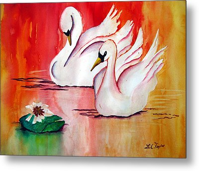 Swans In Love Metal Print by Lil Taylor