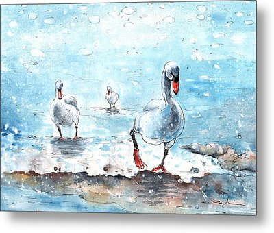 Swans On The March Metal Print by Miki De Goodaboom