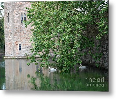 Metal Print featuring the photograph Swans Under The Palace Walls by Linda Prewer