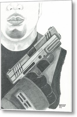 S.w.a.t. Team Leader Holding A Springfield Armory Xd 40 Cal Weapon Metal Print by Sharon Blanchard