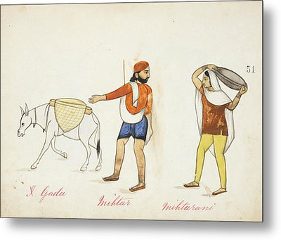 Sweeper And His Wife With Their Donkey Metal Print by British Library
