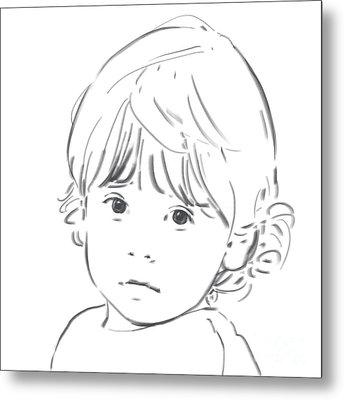 Metal Print featuring the drawing Sweet Girl by Olimpia - Hinamatsuri Barbu