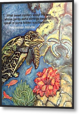 Metal Print featuring the mixed media Sweet Mystery Of This Sea A Hawksbill Sea Turtle Coasting In The Coral Reefs 2 by Kimberlee Baxter