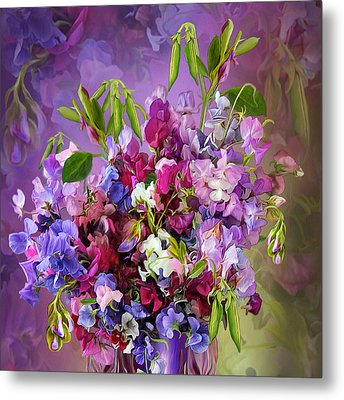 Sweet Pea Bouquet Metal Print
