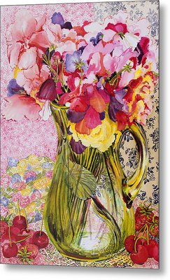 Sweet Peas With Cherries And Strawberries Metal Print by Joan Thewsey