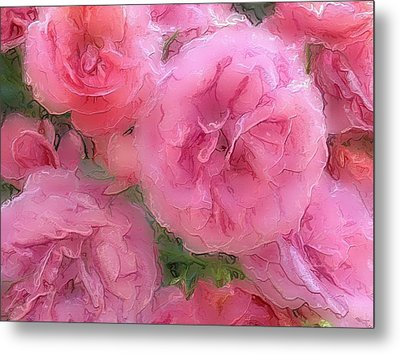 Metal Print featuring the mixed media Sweet Pink Roses  by Gabriella Weninger - David