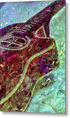 Sweet Sounds 3 Digital Guitar Art By Steven Langston Metal Print