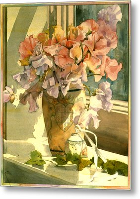 Sweetpea On The Windowsill Metal Print by Julia Rowntree