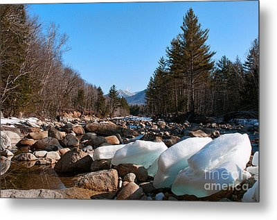 Swift River Ice Blocks Metal Print by Sharon Seaward