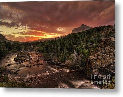 Swiftcurrent River Sunrise Metal Print by Mark Kiver
