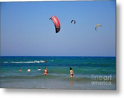 Swimming And Kitesurfing In Prasonisi Metal Print