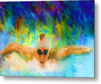 Swimming Fast Metal Print