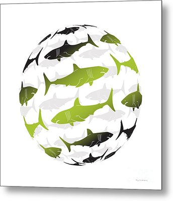 Swimming Green Sharks Around The Globe Metal Print by Amy Kirkpatrick