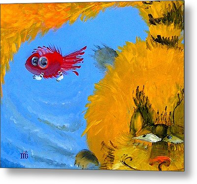 Swimming Of A Yellow Cat Metal Print
