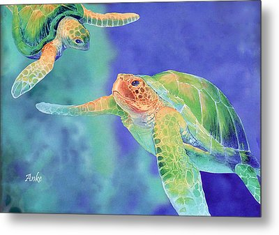 Swimming Seaturtles Metal Print by Anke Wheeler