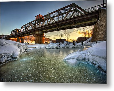 Swing Bridge Frozen River Metal Print