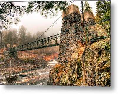 Metal Print featuring the photograph Swinging Bridge Before The Storm by Mark David Zahn