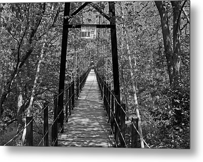 Swinging Bridge Patapsco State Park Bw Metal Print