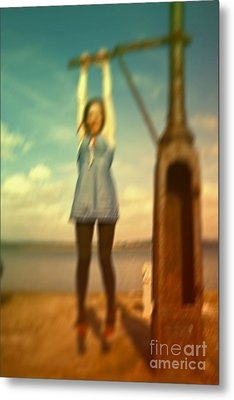 Metal Print featuring the photograph Swinging From Lampost  by Craig B