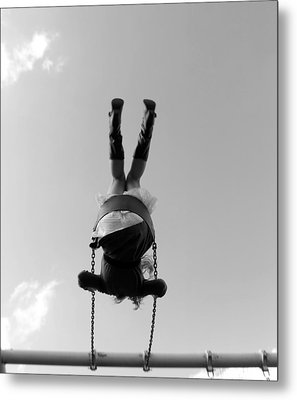 Swings Bw Metal Print by Elizabeth Sullivan