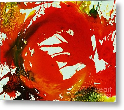 Swirling Crimson Abstract Metal Print by Ellen Levinson