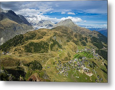 Swiss Alps Great View Towards Riederalp Aletsch Forest And Aletsch Glacier Metal Print by Matthias Hauser