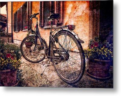 Swiss Bicycle Metal Print by Debra and Dave Vanderlaan