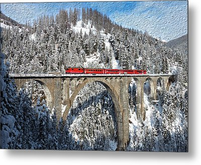Swiss Bridge - Snow Painting Metal Print by Mike Rampino