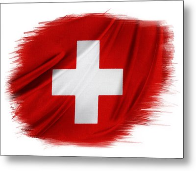 Swiss Flag Metal Print by Les Cunliffe