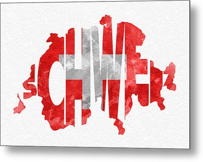 Switzerland Typographic Map Flag Metal Print