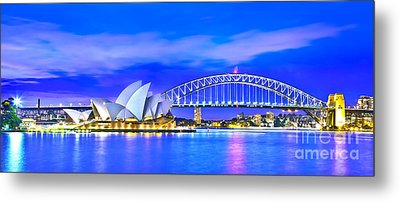 Sydney Harbour Blues Panorama Metal Print by Az Jackson
