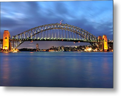 Sydney Harbour Bridge At Twilight Metal Print by Photography  By Sai