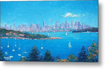 Sydney Harbour Sailing Metal Print by Jan Matson